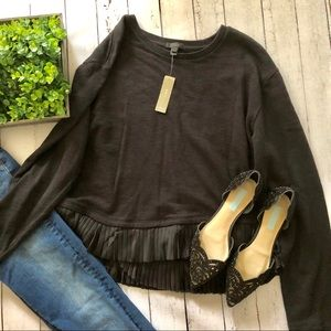 NWT J.Crew Flutter Pleated Hem Black Sweatshirt